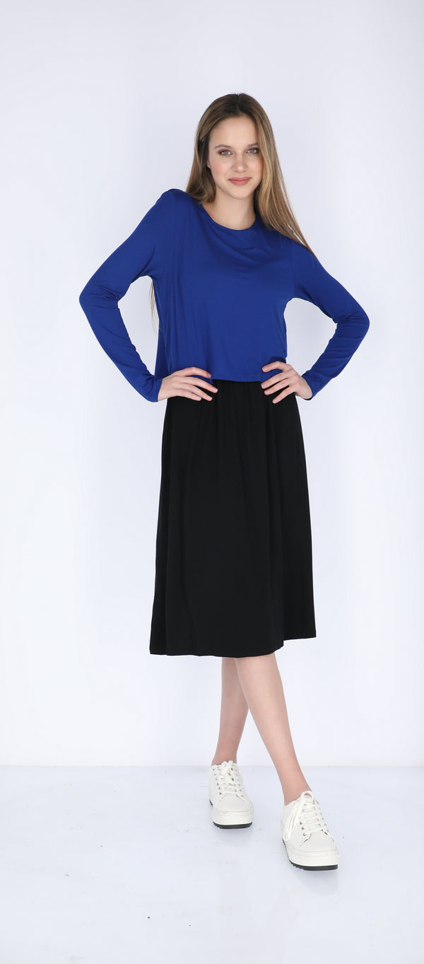 Solid Nursing Dress / Royal & Black