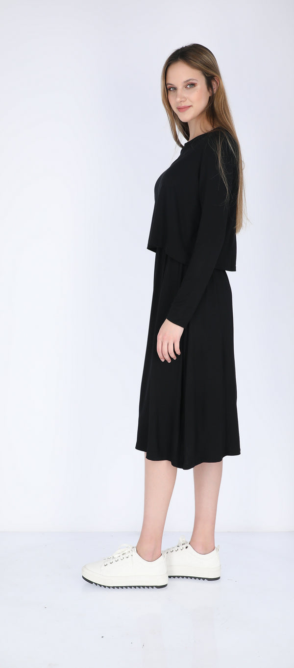 Solid Nursing Dress / Black