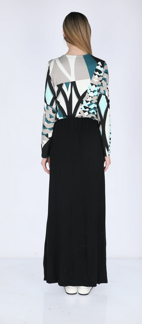 Maxi Nursing dress / Petrol Geometry
