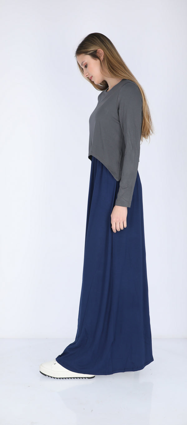 Solid Maxi Nursing Dress / Grey & Navy