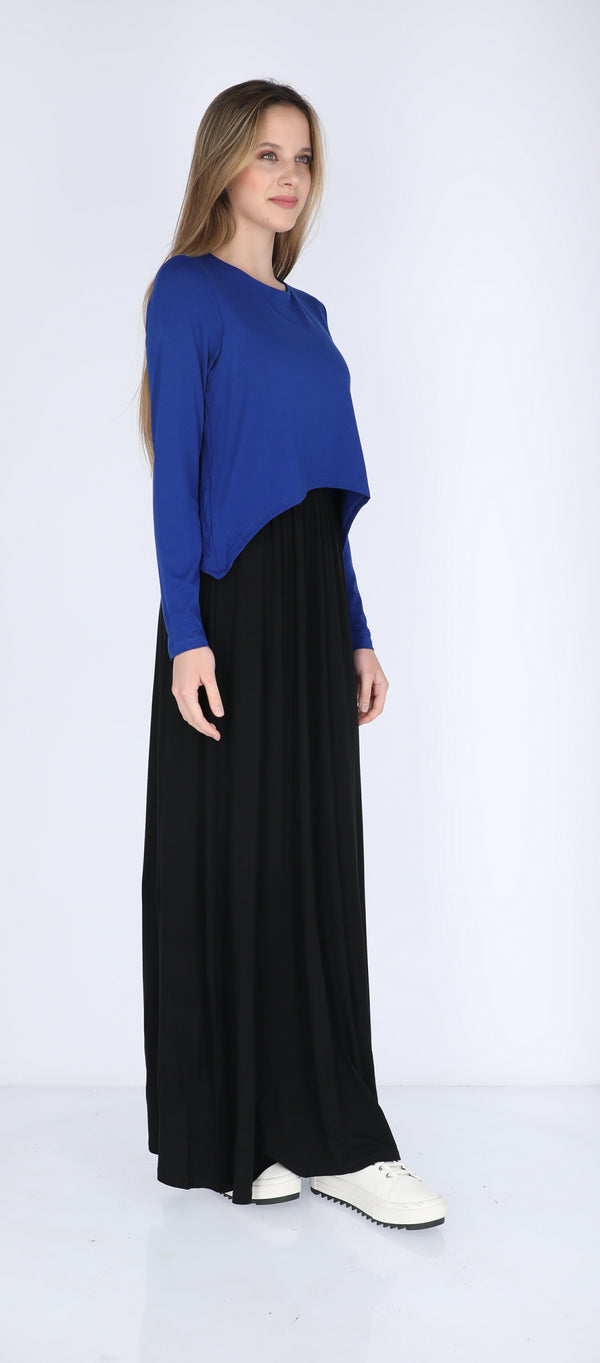 Solid Maxi Nursing Dress / Royal & Black