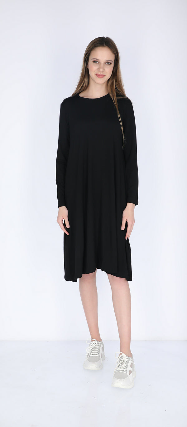 A-line Solid Dress Black