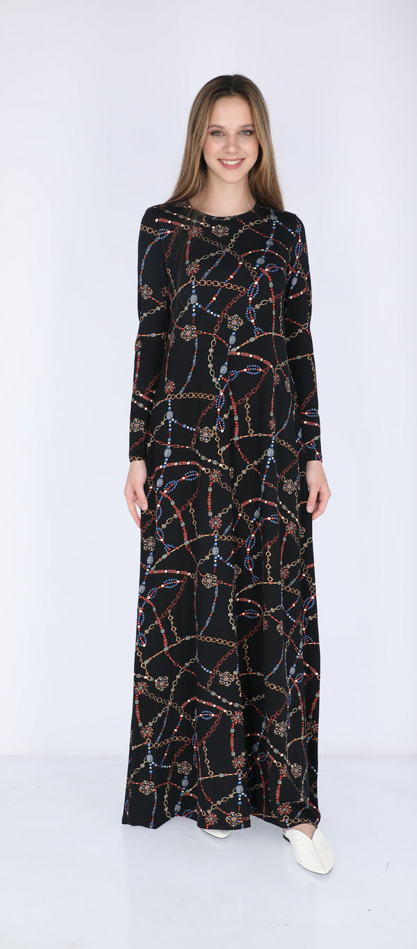 A-line Maxi Dress / Blue Chain