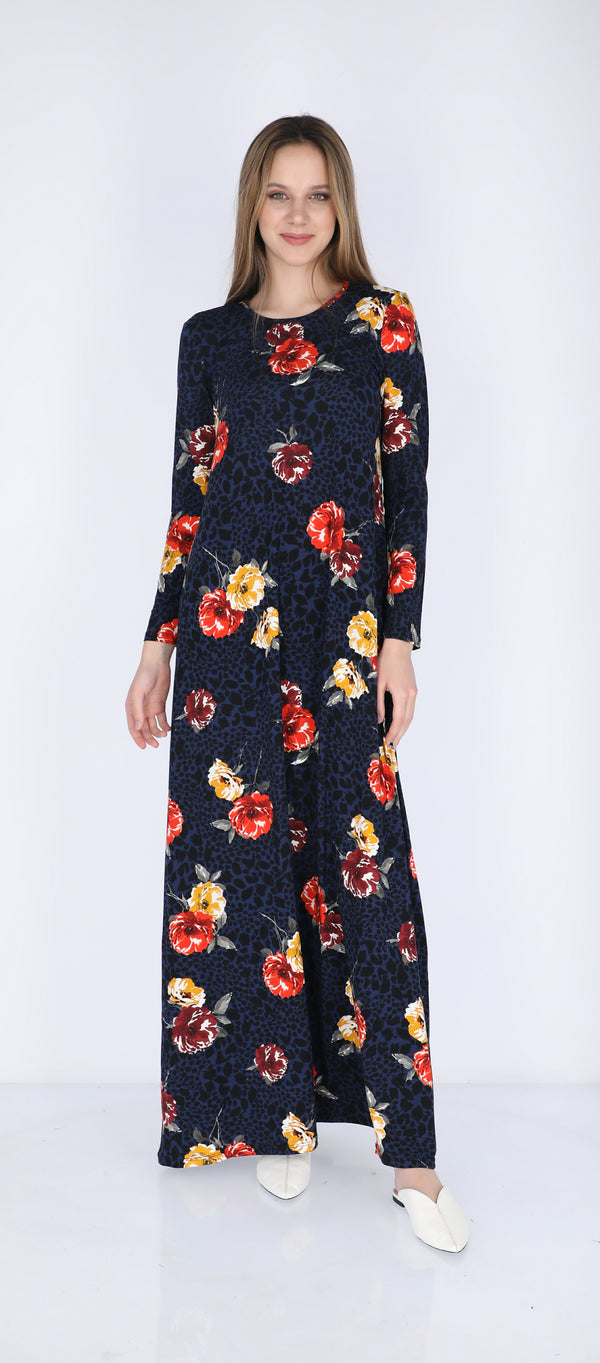 A-line Maxi Dress / Blue Flowers