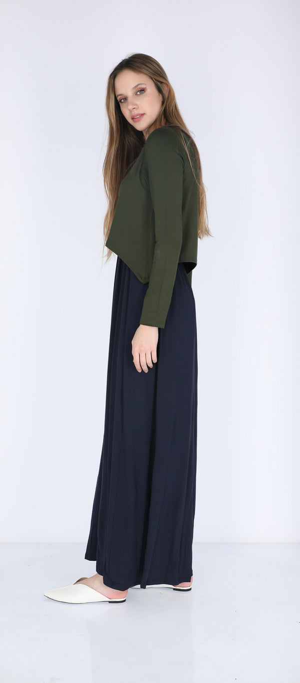 Solid Maxi Nursing Dress / Olive & Navy