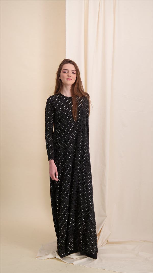 A-line Maxi Dress / Black & Gold