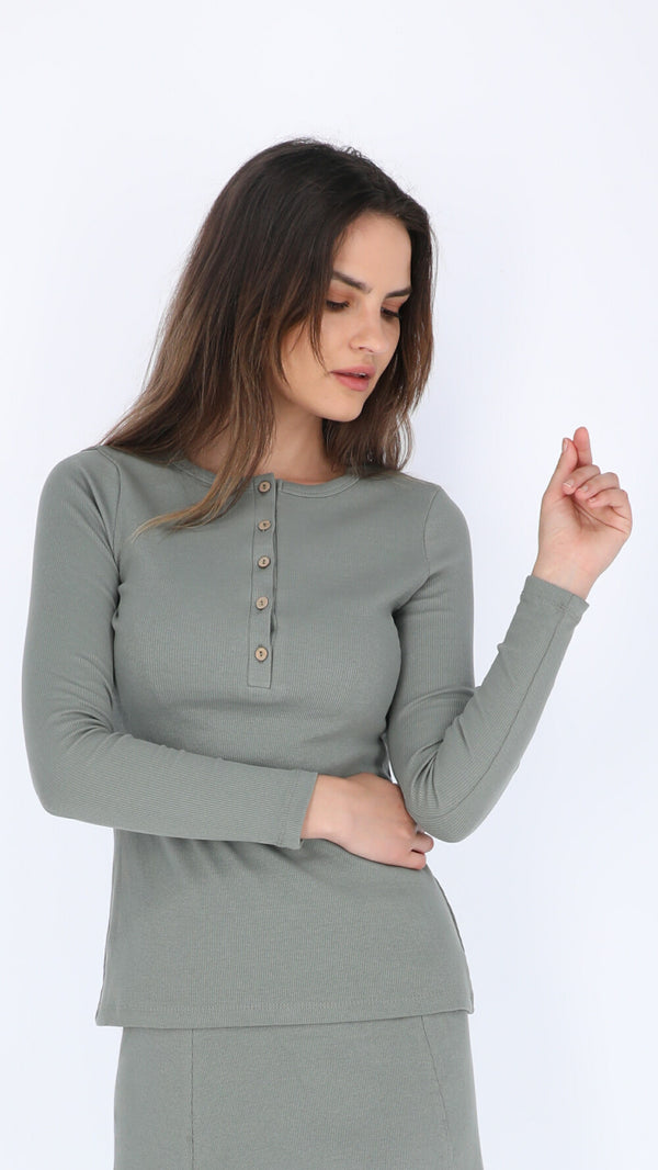 Ribbed Button T-shirt Fall Colors