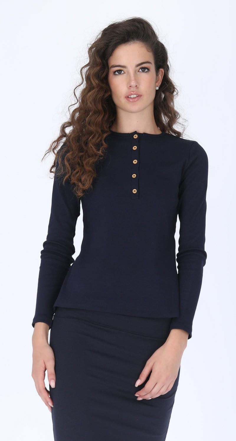 Ribbed Button T-shirt