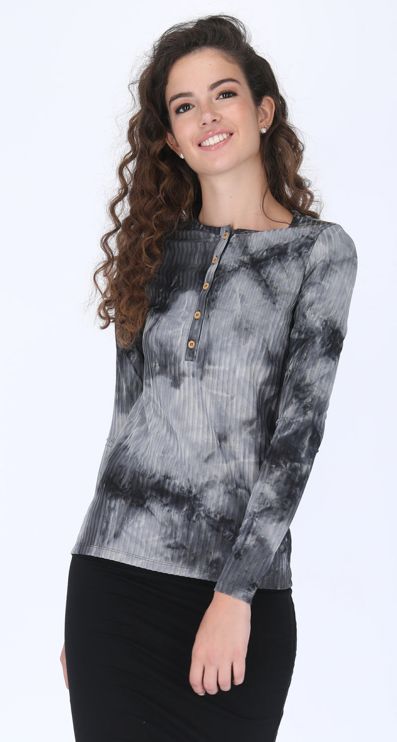 Ribbed Button T-shirt / Grey Tie Dye