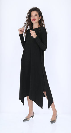 Shine Asymmetric Dress / Solid Black