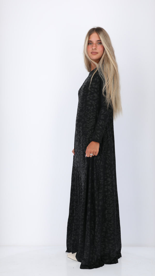 A-line Maxi Dress / Shiny Black