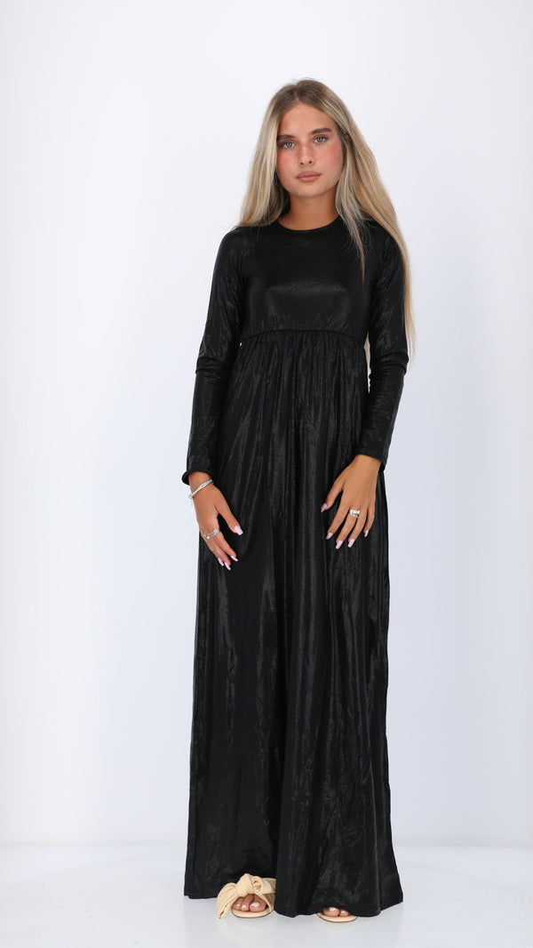 Belted Maxi Dress / Elegant Black