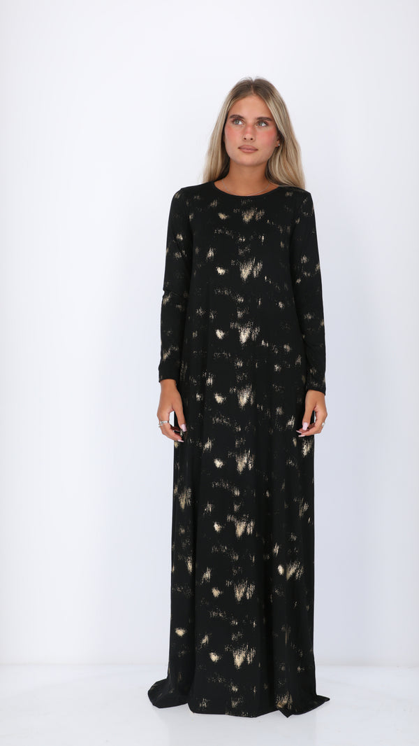 A-line Maxi Dress / Black & Gold Splash