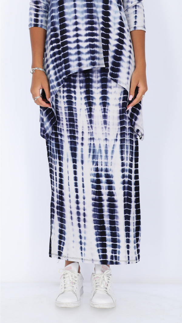 Maxi Skirt / White & Blue Tie Dye