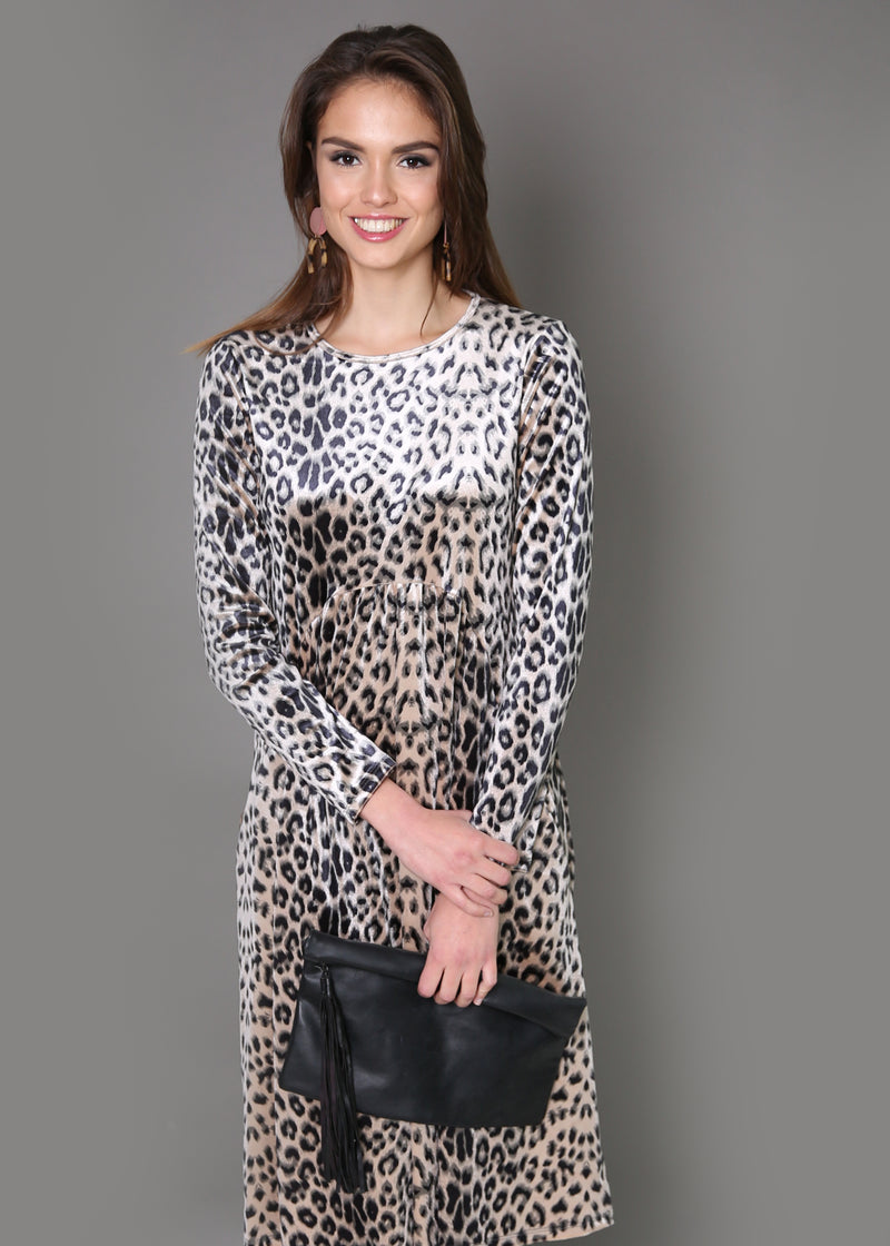 Waisted Velvet Dress - Animal Prints