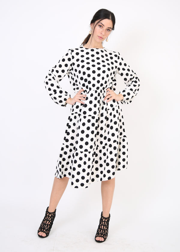 Layers Dress / White Polka Dot