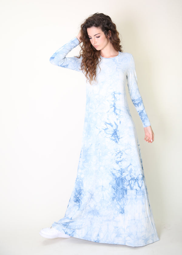 A-line Maxi Dress/ Light Blue Tie Dye