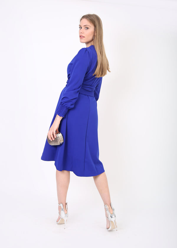 Solid Hi-lo Dress with Belt
