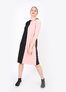 Color Block Button Dress