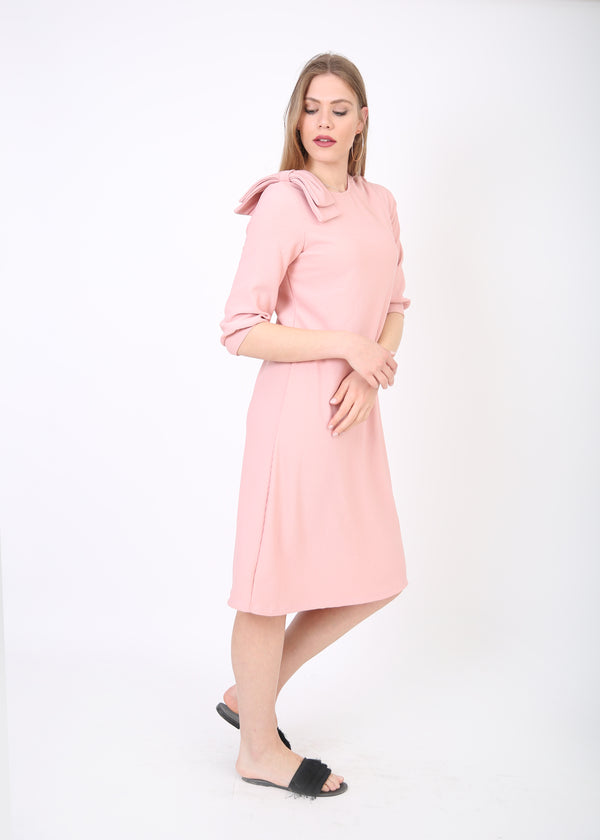 Ribbed A-line Dress with Detailed Sleeve