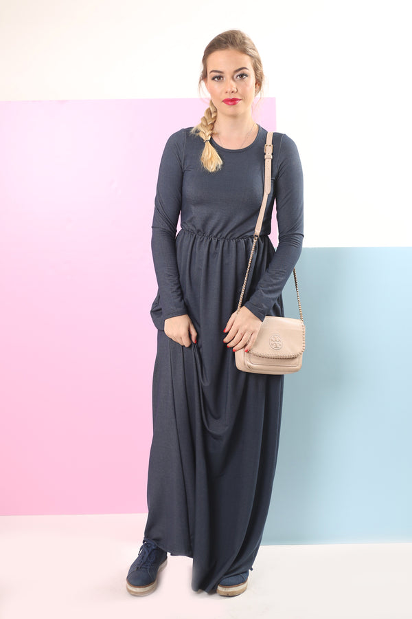 Belted Maxi Dress / Denim Blue