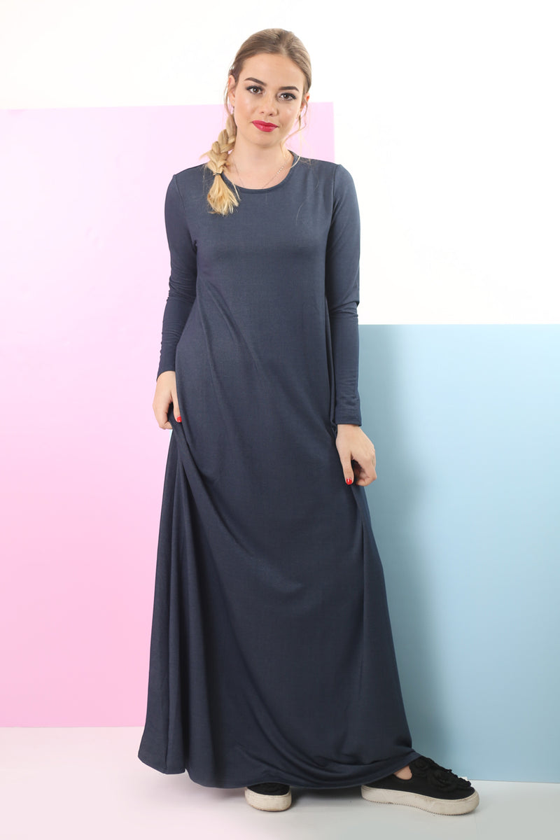 A-Line Maxi Dress / Denim Blue