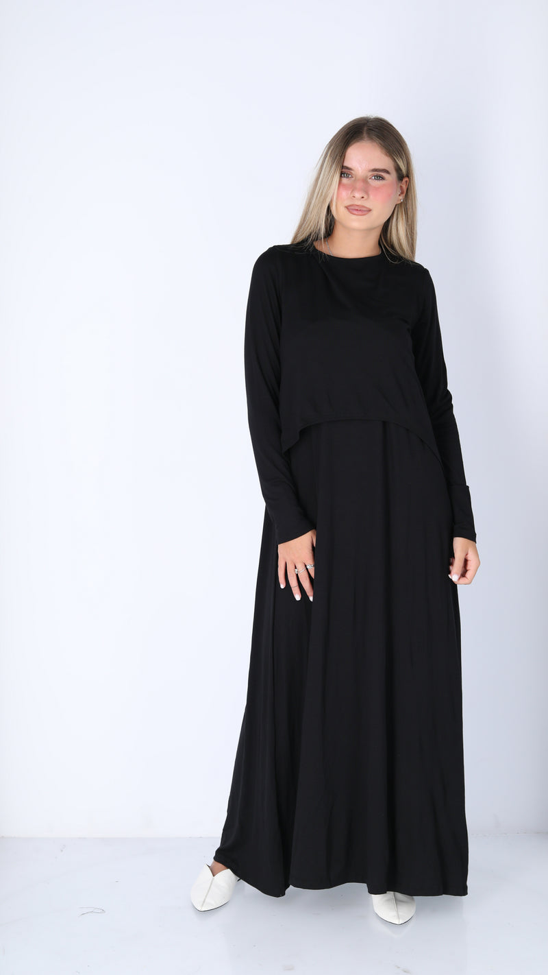 Maxi Nursing Dress / Solid Black