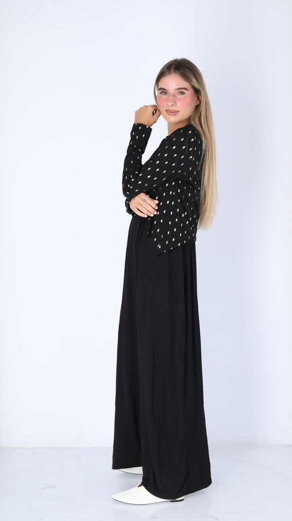 Maxi Nursing Dress / Black & Gold