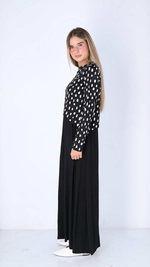 Maxi Nursing Dress / Black Beige Dots