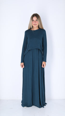 Maxi Nursing Dress / Teal Charcoal
