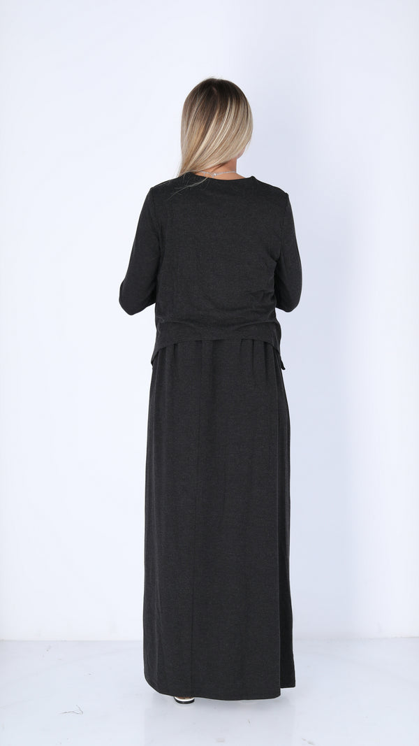 Maxi Nursing Dress / Black Charcoal