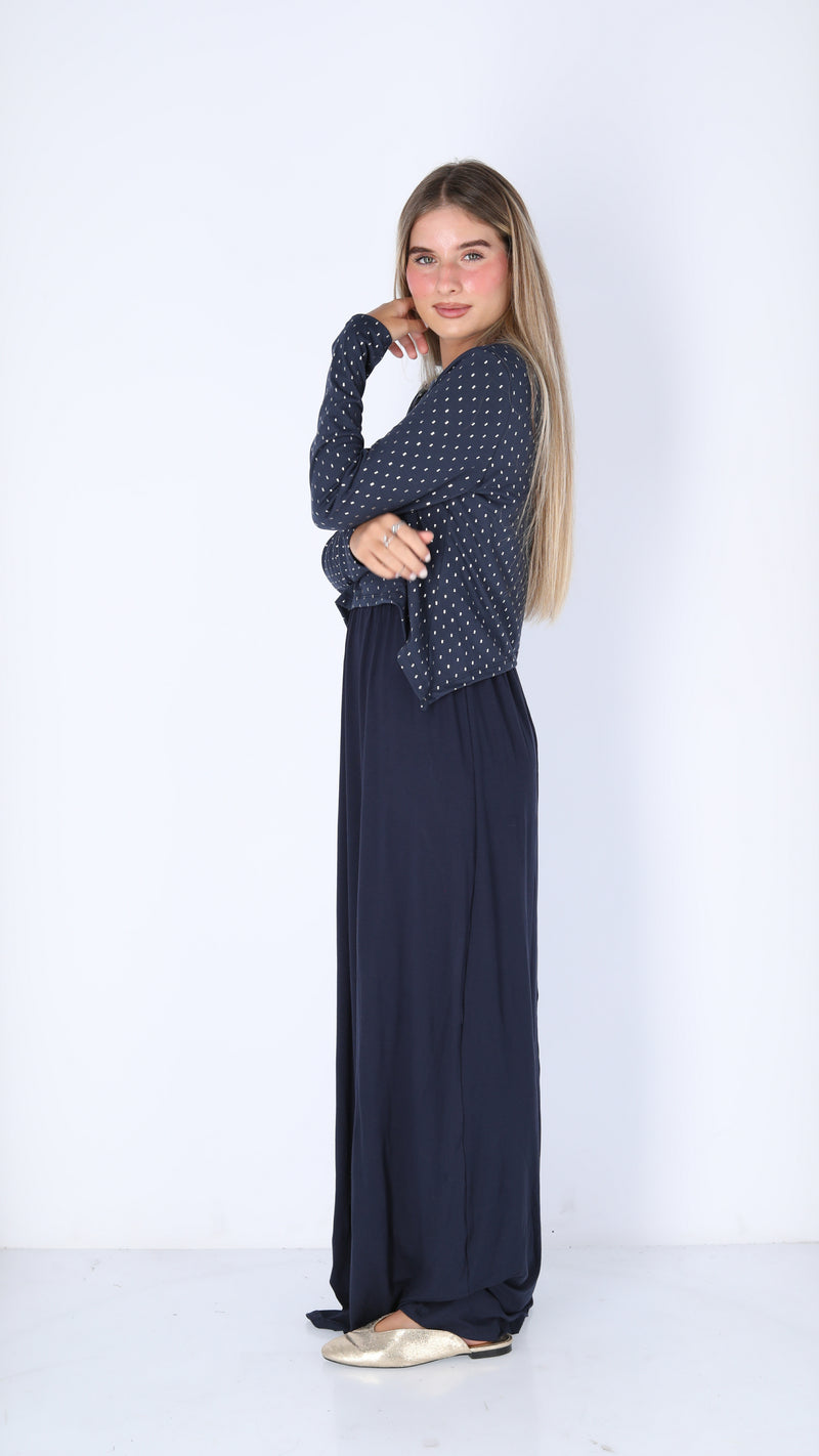 Maxi Nursing Dress / Blue & Silver