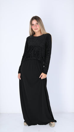Maxi Nursing Dress / Velvet Zig Zag