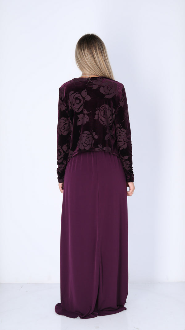 Maxi Nursing Dress / Velvet Bergandy
