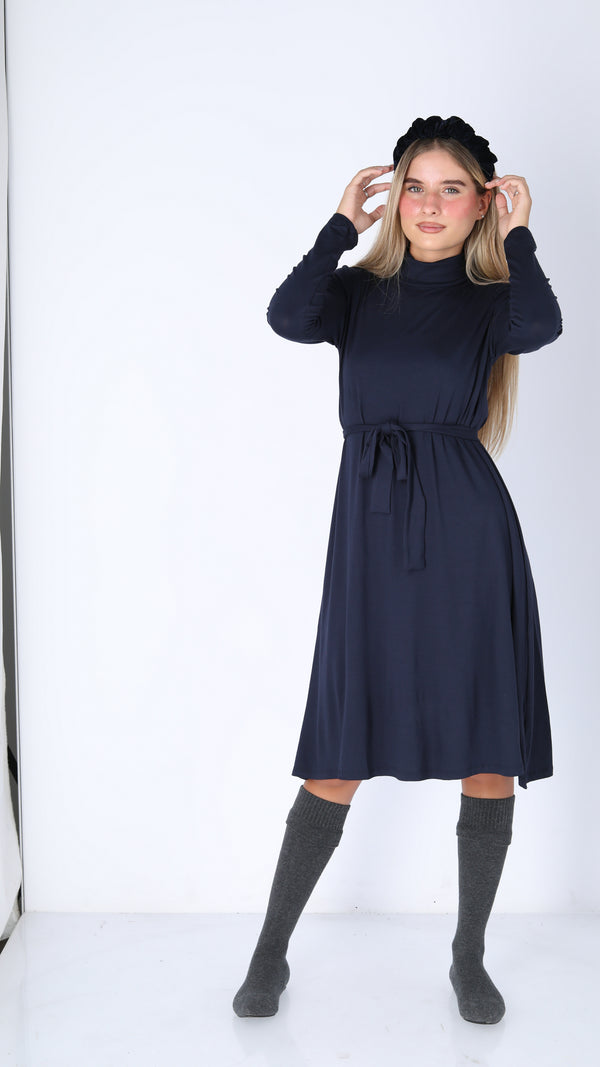 Turtleneck Dress With Belt