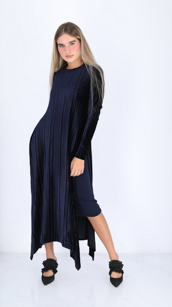 Velvet Asymmetric Dress / Plisse