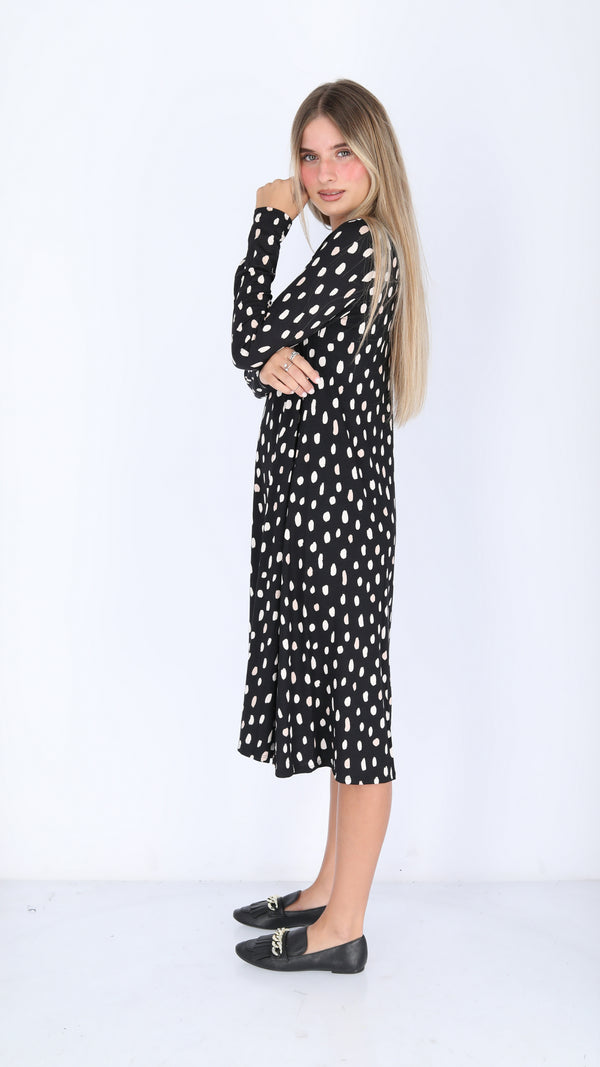 Collection Dress / Black Beige Dots