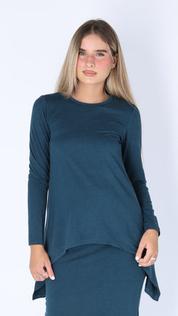 Asymmetric T-shirt / Teal Charcoal
