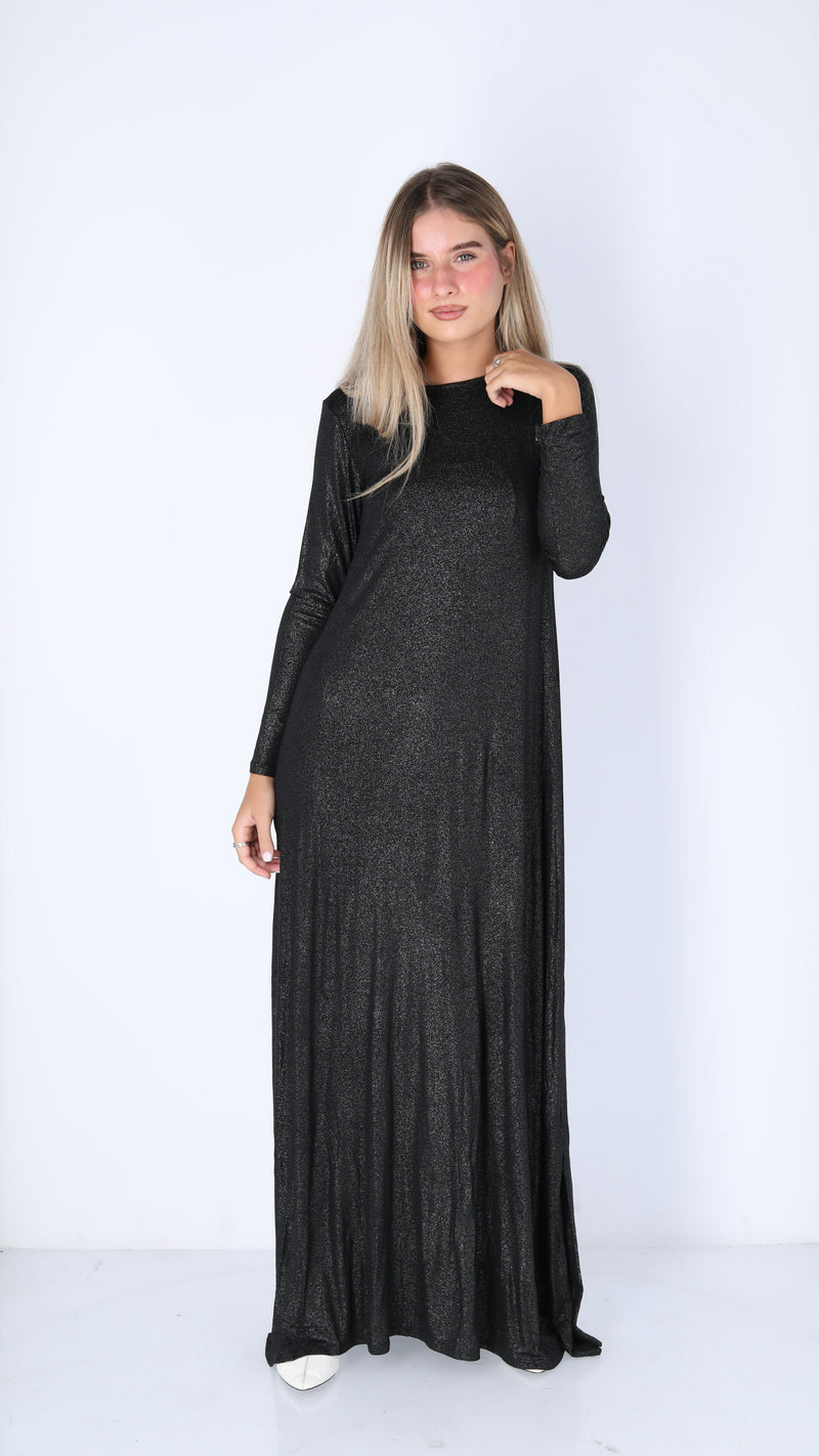 A-line Maxi Dress / Black Sprakle