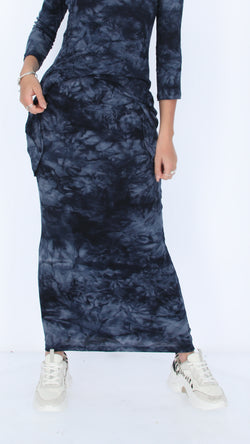 Ribbed Maxi Skirt / Navy Tie Dye