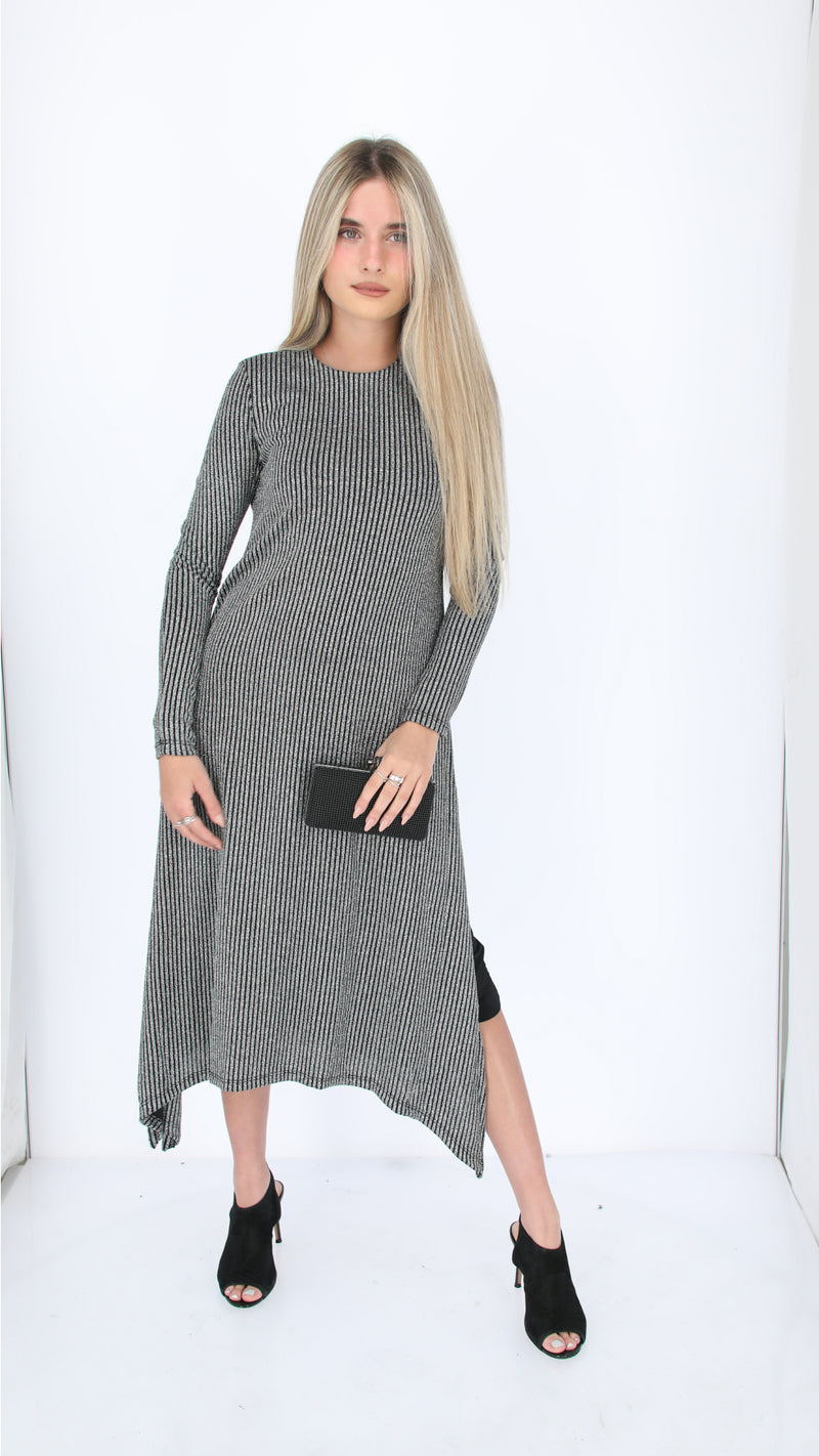 Shine Asymmetric Dress / Silver Skinny Stripe