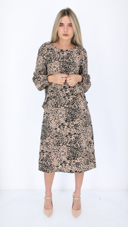 Dressy Nursing Dress / Beige & Black