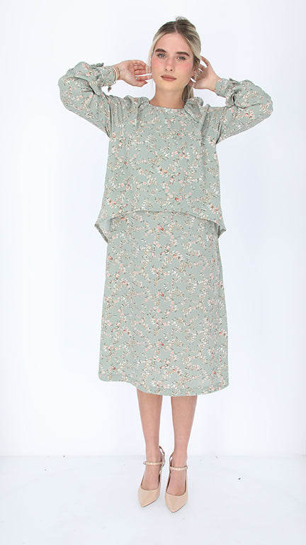 Dressy Nursing Dress / Mint Little Flowers