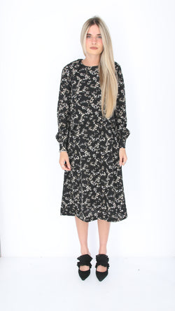 Dressy Nursing Dress / Black Little Flowers