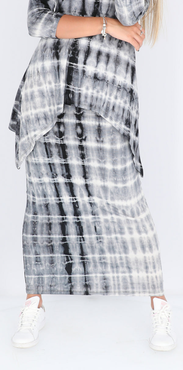Maxi Skirt / Black & Grey Tie Dye