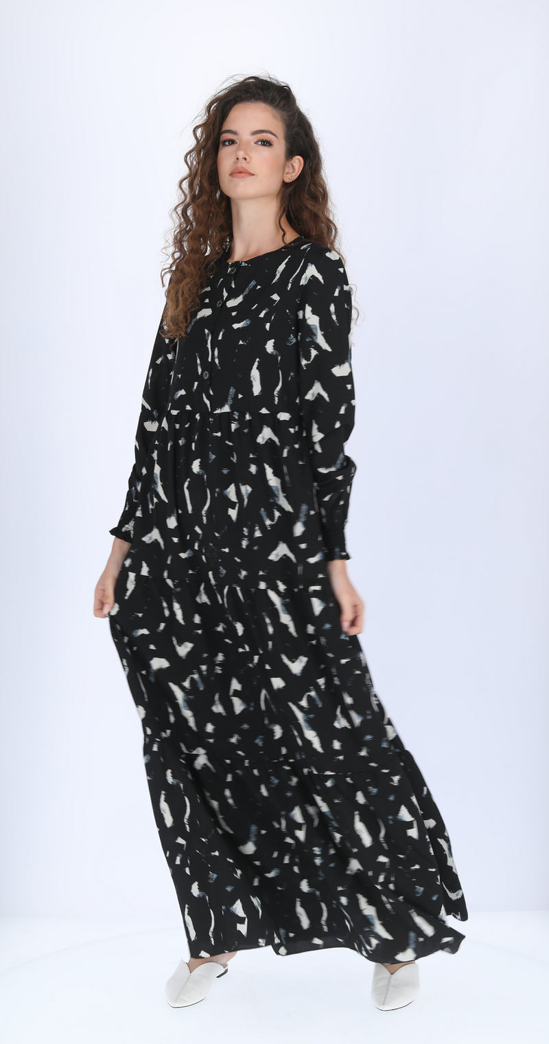 Maxi Layers Dress - Black White and Blue