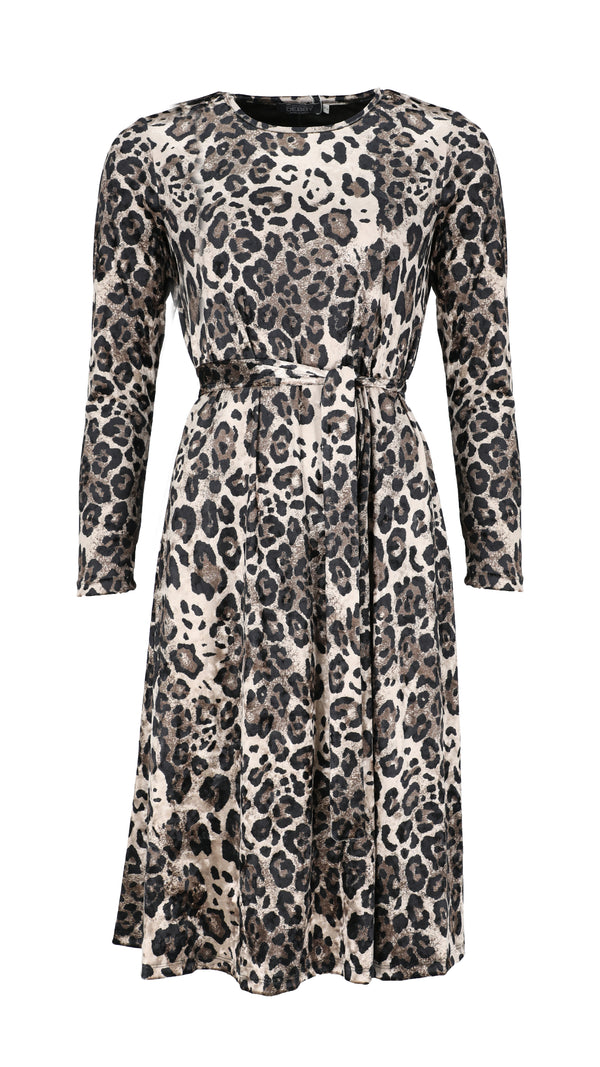 Velvet A-line Dress With Belt / Leopard