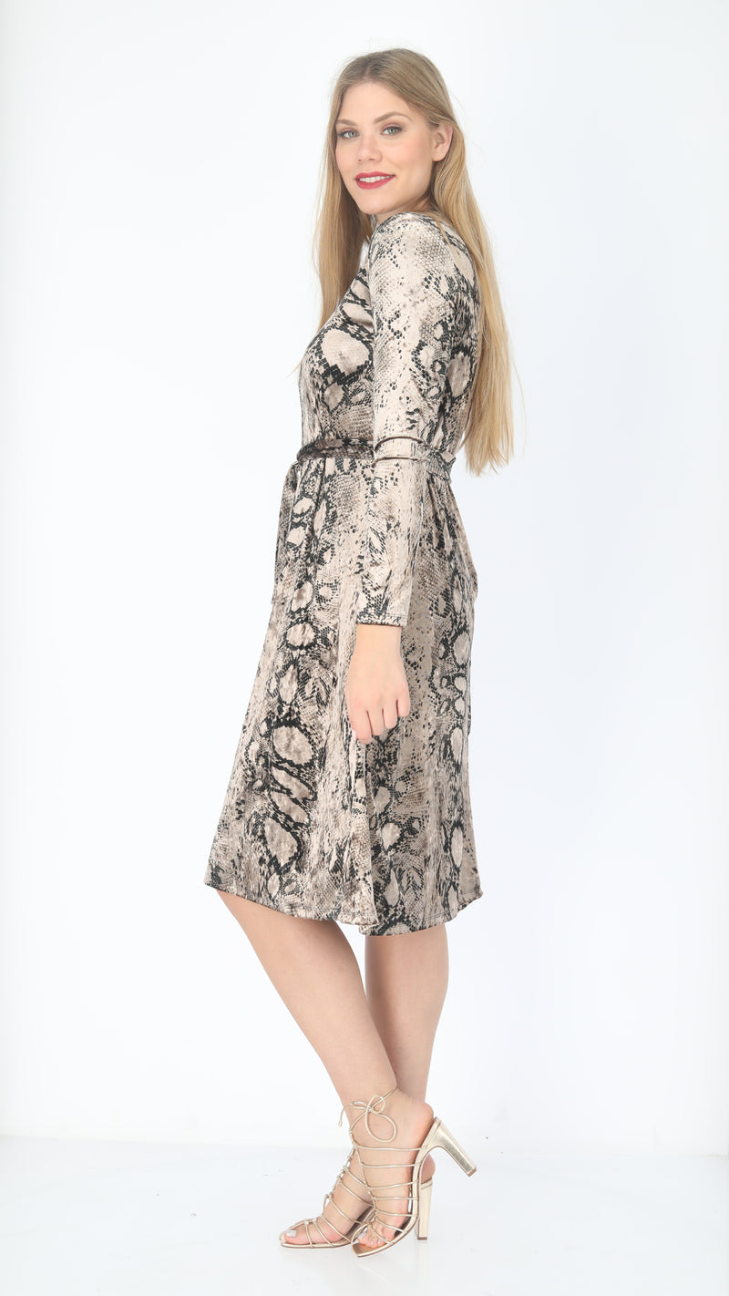 Velvet A-line Dress With Belt  / Snake