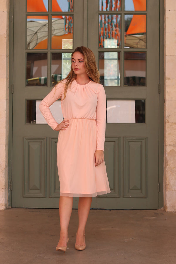 Belted Tulle Dress / Peach