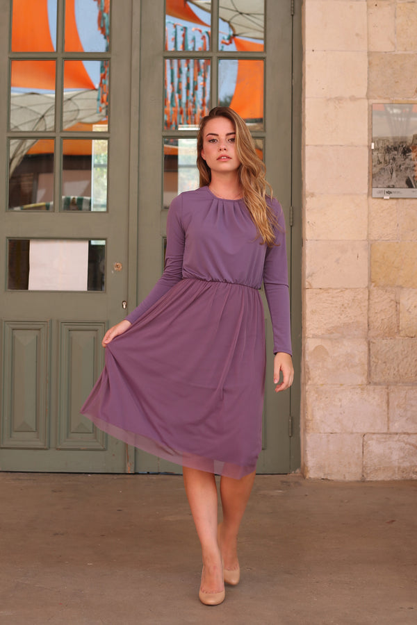 Belted Tulle Dress / Plum
